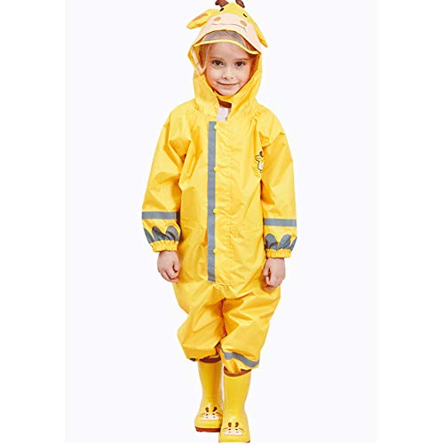 Uniuooi Kids Hooded Raincoat Rainwear All-In-One Waterproof Children Rainsuit for Girls Boys Age 3-10 Years