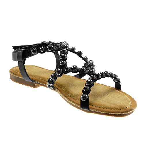 Angkorly Chaussure Mode Sandale Lanière Cheville Spartiates Femme Perle Clouté Multi-Bride Talon Bloc 1.5 cm Noir