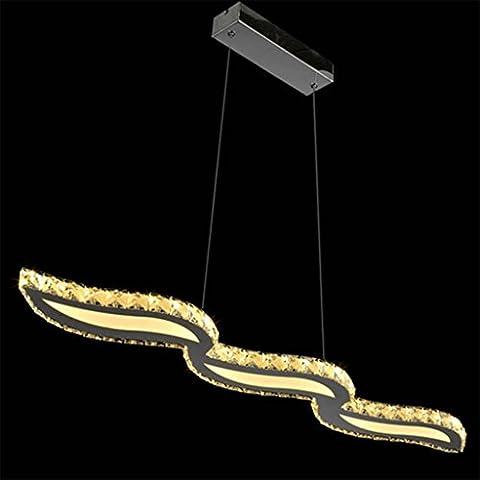 Natood Kristall wellenförmige LED Kronleuchter Glanz warme Licht Edelstahl LED hängende Lampe / Licht / Beleuchtung Befestigung für Restaurant 98 * 10 * 150cm , warm light