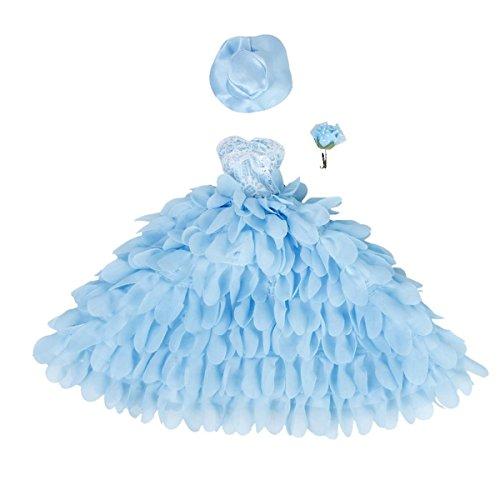 Hut und Blume für Barbie-Puppen (blau) (Barbie Kostüm Für Baby)