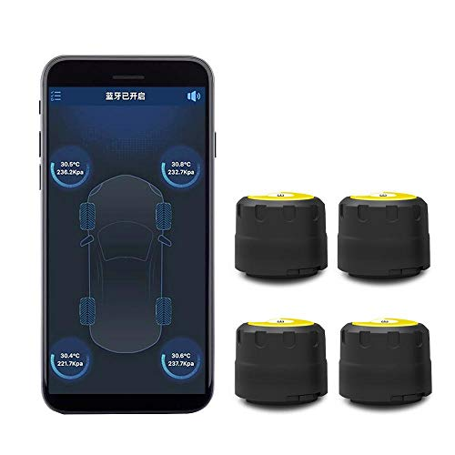 KOBWA Auto Reifendruckkontrollsystem Externen Sensoren,TPMS Alarm Warning System mit APP,Bluetooth 4.0-Schnellverbindung für Android & IOS,Echtzeit-Überwachung & Überwachung von Temperatur und Druck -