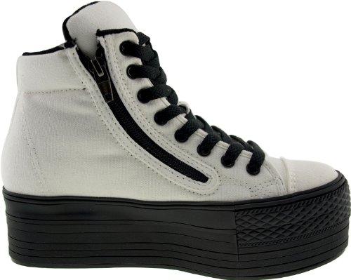 Maxstar  C50-Taller, Chaussons montants femme Blanc - blanc