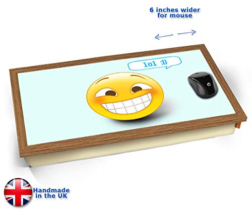 LOL Emoticon Emoji Cushioned Bean Bag Laptop Lap Tray Desk - Built-in EMF Shield (Electro Magnetic...