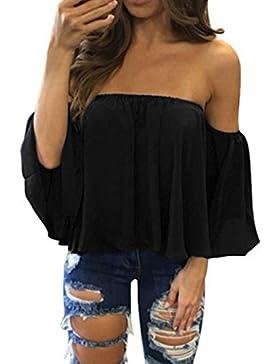 Camisas Mujer, ❤️Xinan Camiseta de Manga Larga Para Mujer Blusa Casual con Hombros Descubiertos Jersey