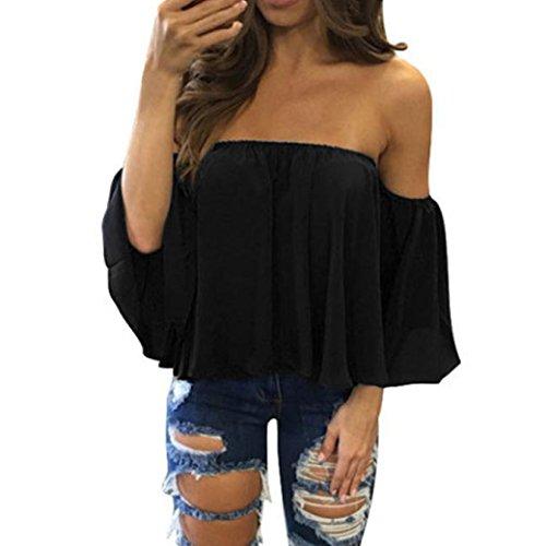 Camisas Mujer, ❤️Xinan Camiseta de Manga Larga Para Mujer Blusa Casual con Hombros Descubiertos Jersey (S, ❤️Negro)