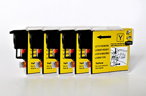 Printing Saver LC-1100/LC-980 5 GELB Tintenpatronen kompatibel für Brother DCP-145C 165C 195C 197C 375CW 383C 385C 395CN 585CW 6690CW MFC-250C 290C 490CW 5490CN 5890CN 5895CW 6490CW 790CW 990CW J615W -