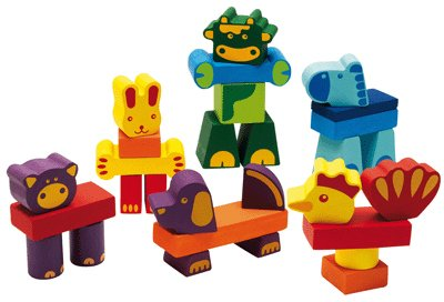 Djeco / Creanimaux Ferme 29-Piece Animal Stacking Blocks (japan import)