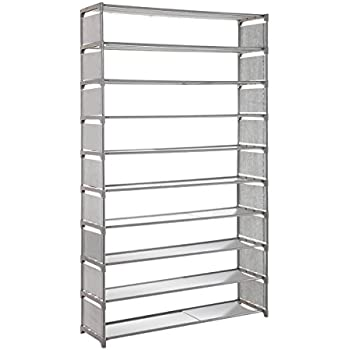 LUXSUITE Shoe Rack Storage, Multiple Combination 50 Pairs 10 Tier Shelf  Portable Metal Pipes Organizer Stand With Waterproof Fabric Tiers, Easy  Assemble