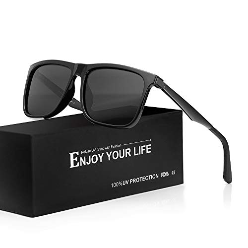 8ebb25f245d66c Mens Driving Sunglasses Polarized 100% UVA UVB Protection (Light Black Grey)