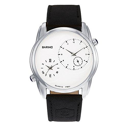 iLove EU Herren Armbanduhr Analog Quarz 30M Wasserdicht 2 Zeitzonen Uhr mit Leder Band und Silber Gehäuse