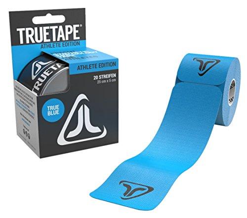 TRUETAPE Athlete Edition | vorgeschnittenes Kinesiologie Tape | True Blue | Physiotape | Kinesiotapes | 20 vorgeschnittene Streifen | CE Zertifiziert | Farbauswahl | Aufbewahrungsbox | 40 Anleitungen