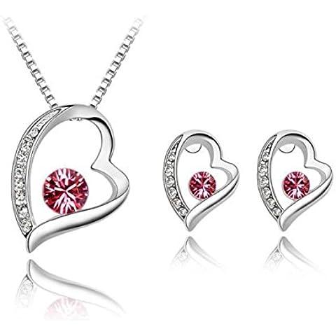 Maison De© decorazione Swarovski Elements-Set di collana e orecchini in cristallo, a forma di cuore, con compatibilità, colore: rosa