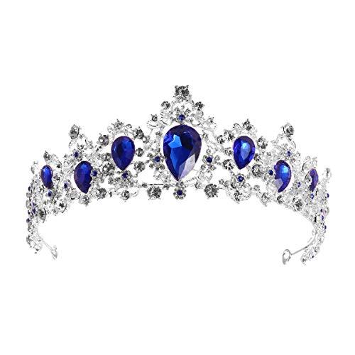 Frcolor Braut-Diadem mit blauen Kristallkronen für Hochzeit, Brautschmuck, Queen Prinzessin Kopfschmuck, Strass-Haarband, für Geburtstagsparty