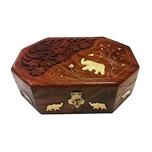 Khandekar (with device of K) Holz Schmuckschatulle Octal Shape, Elephant Inlay & Carving, Vintage Box, Aufbewahrungsbox, Damen Schmuck Organizer Box | Handarbeit | (7 x 5 Zoll)