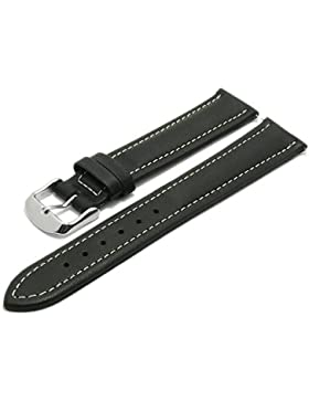 Meyhofer Uhrenarmband Kelheim EASY-CLICK 18mm schwarz Leder glatt helle Naht Made in Germany My2fcml2019