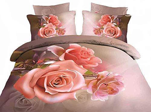 ZQYY Bettbezug, 4-teiliges Set 3D-Blumenbettwäsche, Mikrofaser, Lieferumfang: Bettbezug 200 * 230cm*1, Kissenbezug 48 * 74cm*2, Bettlaken 250 * 250cm*1
