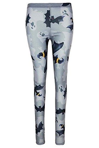 loween Gespenst Galaxis Netz Skinny Fit Kostüm Jeggings Leggings UK Übergröße 8-22 - grau Fledermaus, M/L (UK 12/14) (Leggings Halloween)