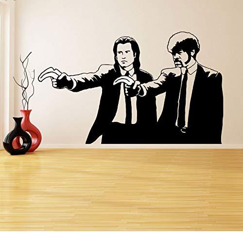 jiuyaomai Fototapete Vinyl-Aufkleber Pulp Fiction Graffiti Jungs mit Farbe Banana Pistols Zwei Männer in Smoking Kunstwand 94x57cm.