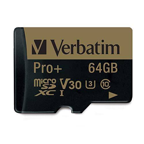 Verbatim Pro+ U3 Micro SDXC-Speicherkarte - 64 GB - für 4K-Ultra-HD-Videoaufnahmen, UHS-3 Geschwindigkeit, mit MicroSD-zu-SD-Adapter - schwarz