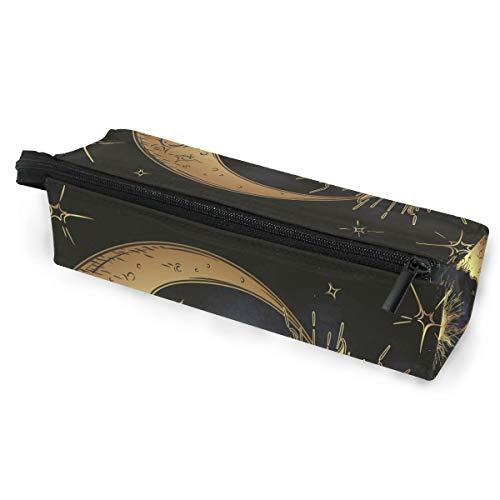 Ahomy Tragbare Brillenbox mit Reißverschluss, Boho Sonne Mond Sterne Federmäppchen Make-up-Tasche Geldbeutel