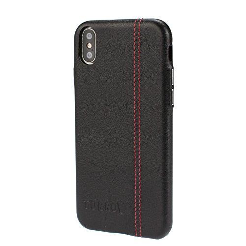 Torro iPhone XS Hülle, 'Back Bumper' aus Premium Nappaleder, extrem dünn und leicht. (Schwarz, für Apple iPhone X/iPhone XS)