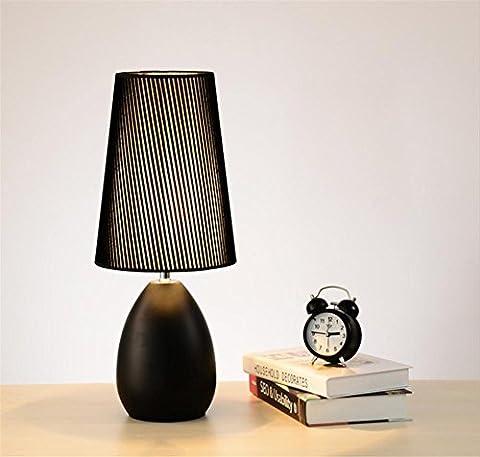 Noël moderne mode minimaliste Creative tissu en bois art Chambre lampe de chevet de table, affaires, bureau, chambre, lumière de nuit, lumière de bureau, lumière de décoration de Festival , Black