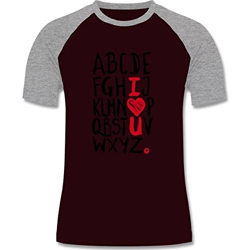 Romantisch - I <3 U - ABC - zweifarbiges Baseballshirt für Männer Burgundrot/Grau meliert