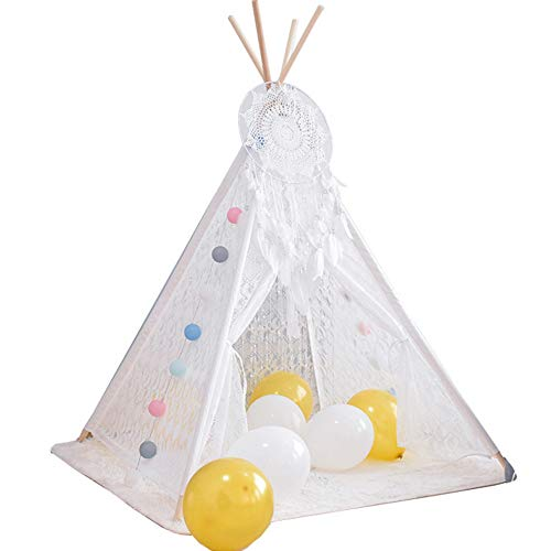 Kinder Tipi Zelt für Kinder Net Bett Baldachin Garn Spielen Zelt Bettwäsche für Kinder Spielen Lesen mit Kindern Runde Lace Dome Netting Vorhänge Baby Jungen und Mädchen Spiele Haus (Lesen Baldachin Für Kinder)