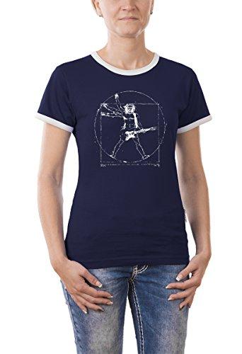 Touchlines Damen T-Shirt Da Vinci Rock Guitar Girlie Ringer Kontrast, Navy, M, B210513GR (Da Vinci Guitar Shirt)