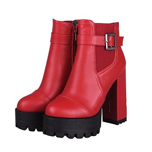 AgooLar Damen Hoher Absatz Reißverschluss Rund Zehe Blend-Materialien Reißverschluss Stiefel Rot