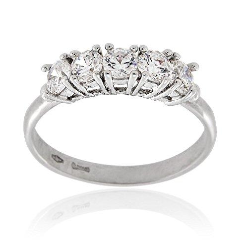 Gioiello italiano - anello in oro bianco 18kt con 5 zirconi