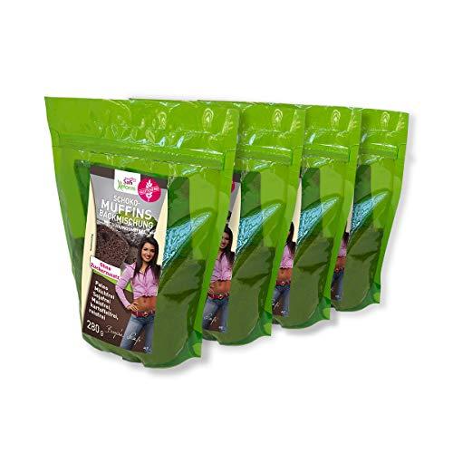 Safi Reform Schoko-Muffin Backmischung, paleo, low carb, (4x280 g) – gluten-, milch-, hefe-, soja- und maisfrei, ohne zugefügten Zucker.