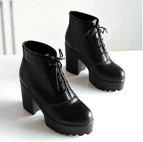 &ZHOU Stivali autunno e l'inverno stivali brevi donne adulte 'Martin stivali stivali cavaliere A3-5 Black