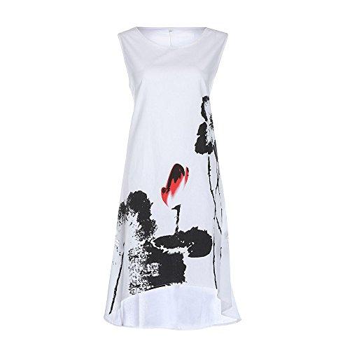 Saugen schnell und einfach zu trocknen und bequem Sleeveless Boho Tinte drucken lose große Größe Kleid Kingko (L, (Lol Kostüme Einfach)