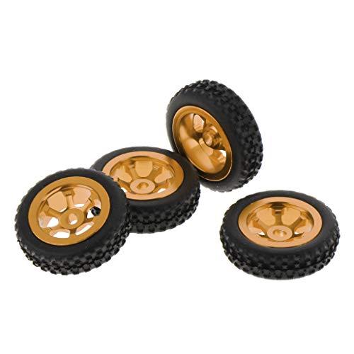 Hellery 4er-Set RC 1: 28 Auto Gummi Reifen für Wltoys - Gelb