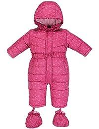 Bebé Traje de Nieve + Botines Peleles Monos con Capucha Invierno Mamelucos Chicas Body Cremallera Frontal