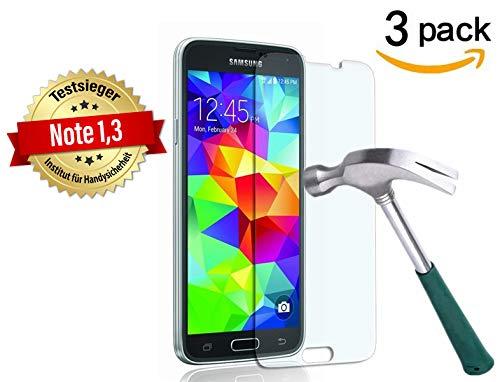 Cäsar-Glas [3 Stück] Schutzglas für Samsung Galaxy S5 / S5 Neo, Anti-Kratzen, Anti-Öl, Anti-Bläschen, 9H Echt Glas Panzerfolie Schutzfolie