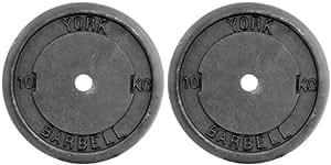 York Fitness Hantelscheiben Gusseisen, schwarz, 2 x 10 kg mit 3 cm Bohrung, 2415