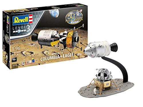 Revell 03700 Jubiläumsset Mondlandung Apollo 11 Columbia & Eagle originalgetreuer Modellbausatz für Einsteiger, mit Basis-Zubehör, Mehrfarbig - Eagle Electronics