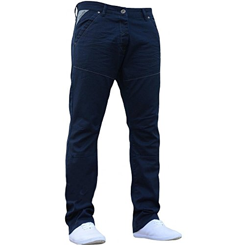 Enzo Mens Neue Ez329 Regelmäßigen Passform Gerades Bein Jeans Beschichtete Marine Jeans W38- L34 - Back Flap Jeans