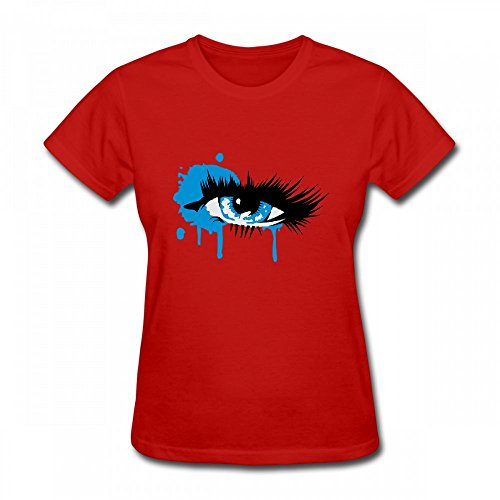 qingdaodeyangguo T Shirt For Women - Design A Colored Eye With Long Eyelashes Shirt Red