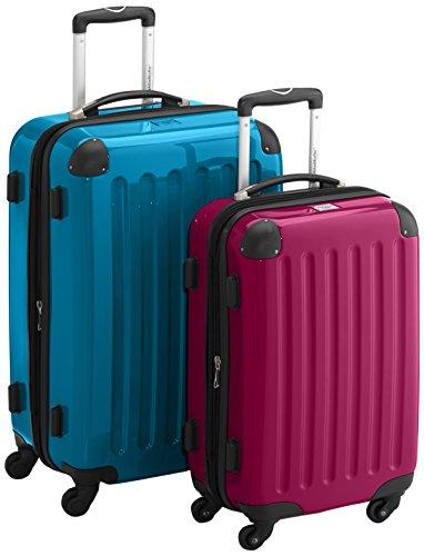 HAUPTSTADTKOFFER - Alex - 2er Koffer-Set Hartschale glänzend, TSA, 65 cm + 55 cm, 74 Liter + 42 Liter, Orange-Aubergine Cyanblau-Magenta