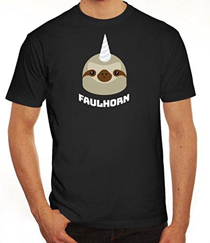 Einhorn Faultier Herren T-Shirt mit Faulhorn Motiv von ShirtStreet Schwarz