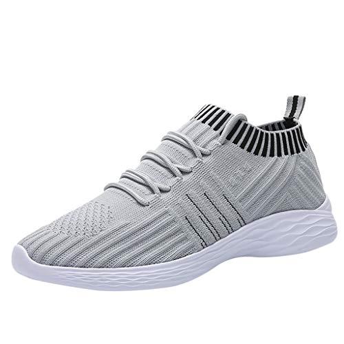 Deloito Damen Sneaker Leichte Modische Turnschuhe Fliegendes Weben Socken Sport Schuhe Schüler Freizeit Atmungsaktiv Laufschuhe (38 EU, Grau-02)