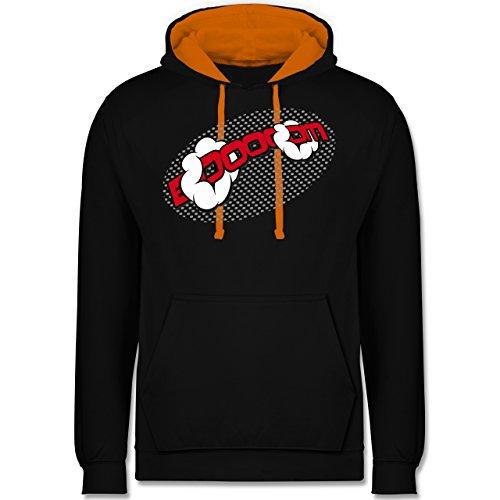 Comic Shirts - Booom! - Kontrast Hoodie Schwarz/Orange