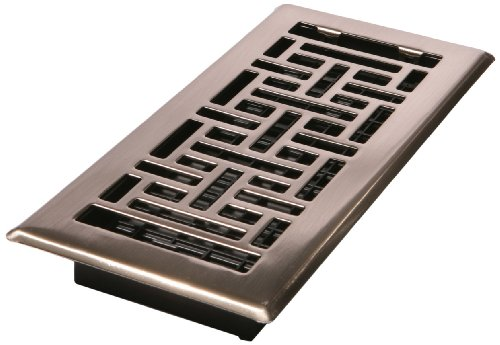 Decor Grates AJH412-NKL 4-Inch by 12-Inch Oriental Floor Register, Brushed Nickel by Decor Grates