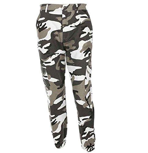 NiSeng Damen Casual Tarnung Drucken Jeans Multi-Tasche Hose Cargohose Trainingshose Grau S