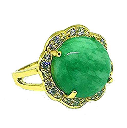 Yigedan - Anillo Redondo Oro Piedra Jade Verde Mujer