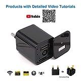 WiMaker cámara espía Oculta WiFi 1080P HD Mini Cargador USB Cámara Inalámbrica Vigilancia de Seguridad en el hogar con Monitor Remoto, detección de Movimiento, grabación de Bucle