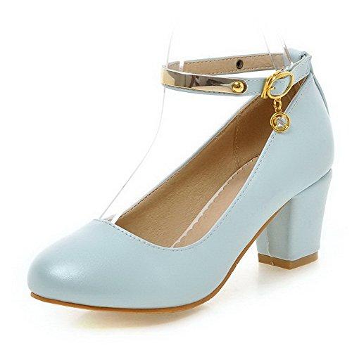 AgooLar Femme Couleur Unie Pu Cuir à Talon Correct Rond Boucle Chaussures Légeres Bleu